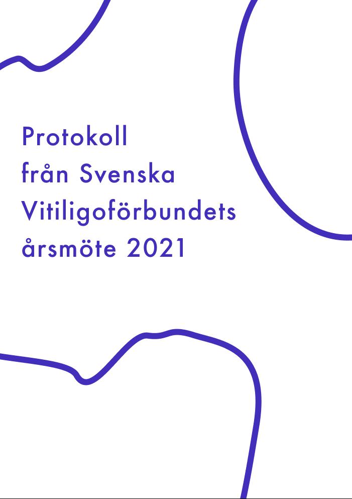 Framsida av protokollet från 2021 årsmöte